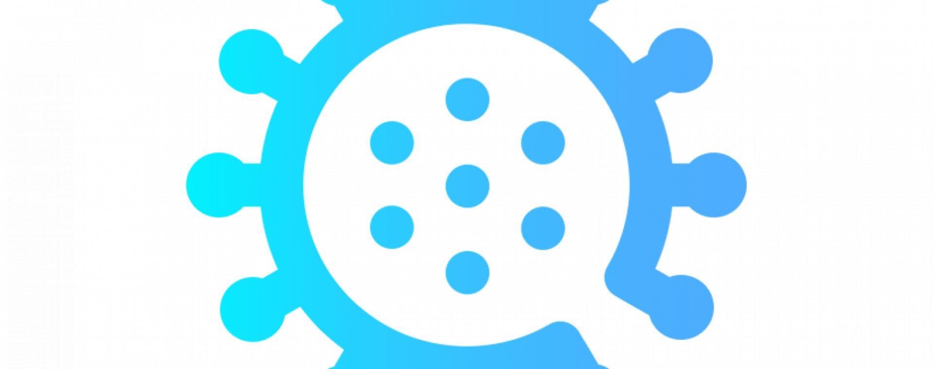 Blue icon of coronavirus cell