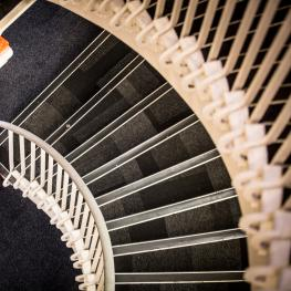 Spiralling staircase at The Old Music Hall